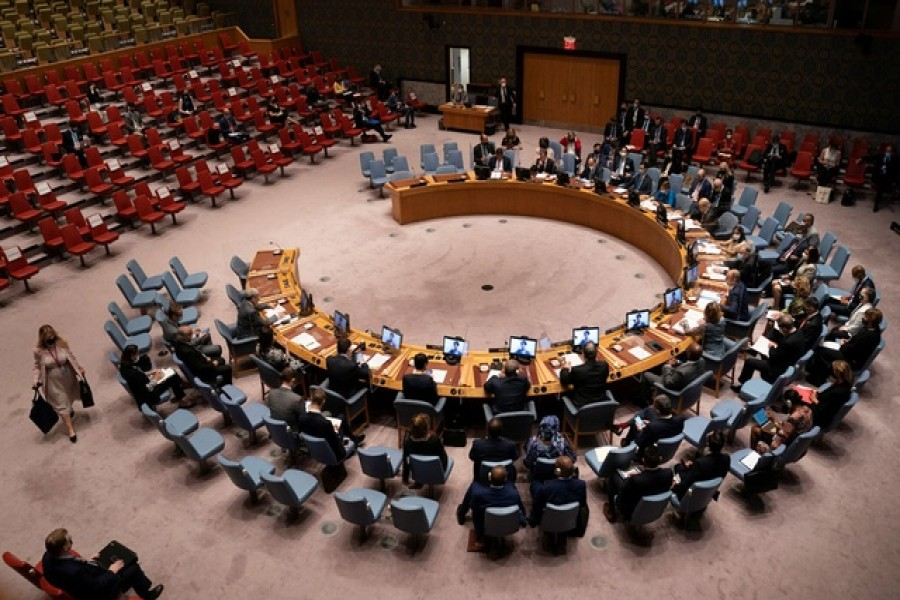 General view of the United Nations Security Council meeting during the 76th Session of the UN General Assembly in New York City, US September 23, 2021 -- Reuters/Files