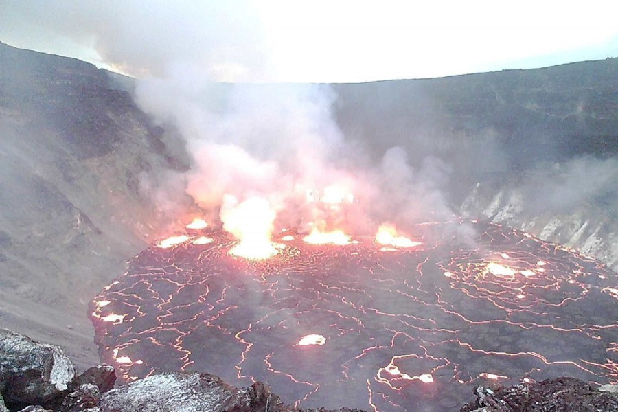 General view of lava surfacing on the Halema'uma'u crater of Kilauea volcano in Kilauea, Hawaii, US on September 29, 2021, in this still image provided by the USGS surveillance camera — USGS via REUTERS