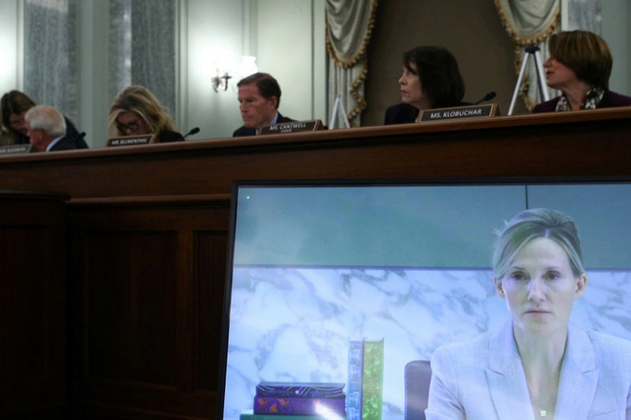 Antigone Davis, Director of the Global Head of Safety at Facebook, is seen on a screen as she testifies before the Senate Commerce, Science, and Transportation - Subcommittee on Consumer Protection, Product Safety, and Data Security, on Capitol Hill in Washington, DC, US on September 30, 2021 — Pool via REUTERS