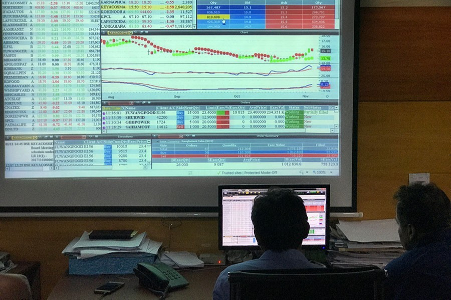 Investors monitoring stock price movements on a TV screen at a brokerage house in the capital city — FE/Files