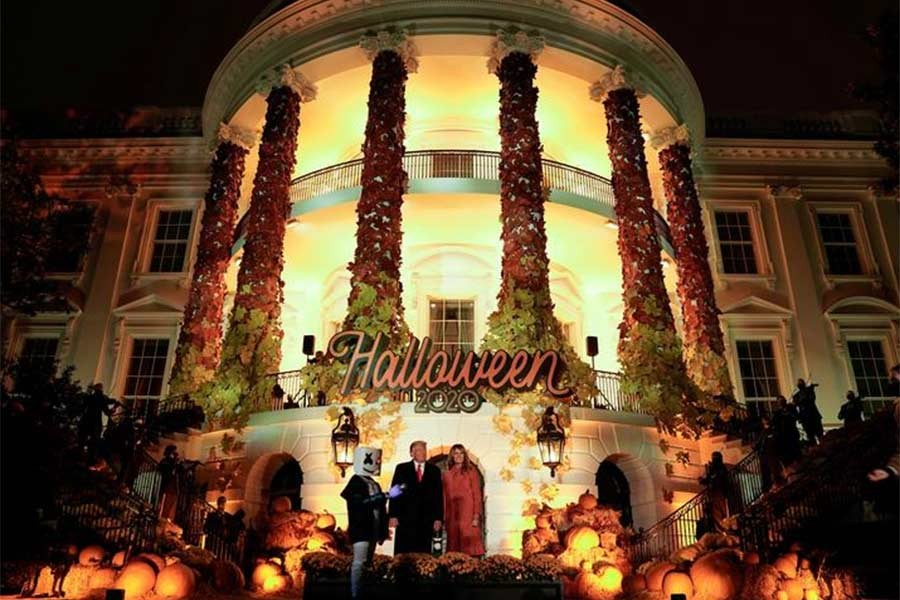 Former US President Donald Trump and first lady Melania Trump host a Halloween event at the White House in Washington on October 25 in 2020 –Reuters file photo