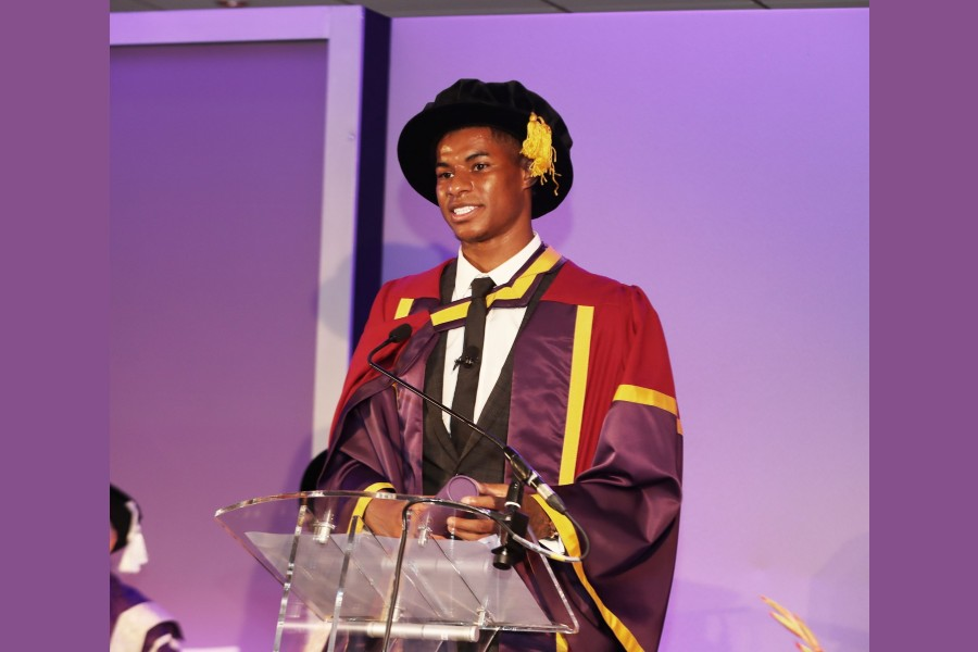 English footballer Rashford receives honorary doctorate from University of Manchester
