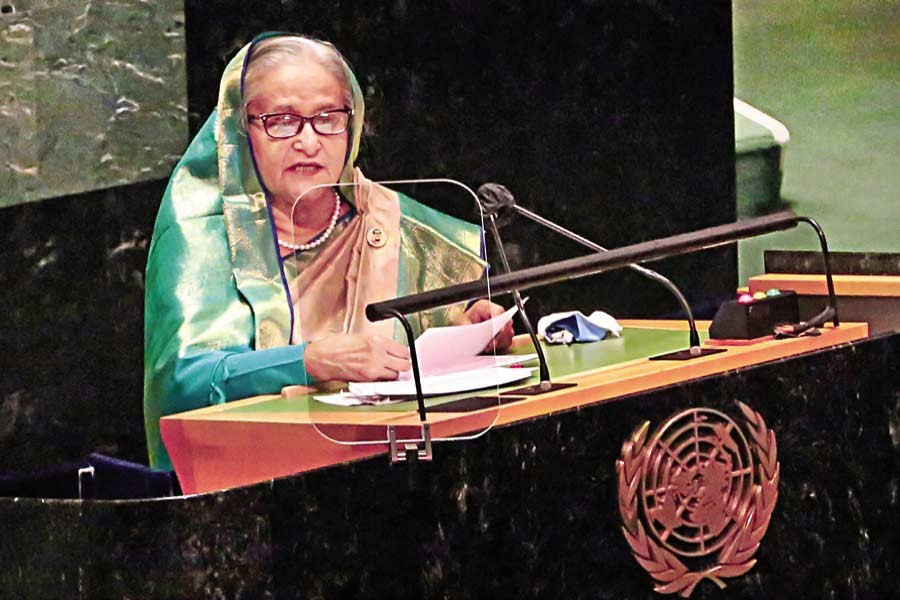 Prime Minister Sheikh Hasina speaking at the 76th UN General Assembly at the UN Headquarters in New York on September 24 this year —PID file photo