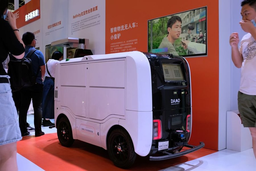 An autonomous delivery vehicle by Damo is displayed at the World Artificial Intelligence Conference (WAIC) in Shanghai, China July 8, 2021 – Reuters/Yilei Sun