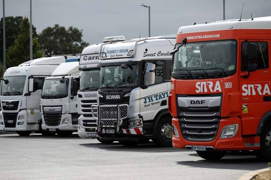 Trucks are seen at an HGV parking, at Cobham Services on the M25 motorway, in Cobham of Britain on August 31 this year –Reuters file photo