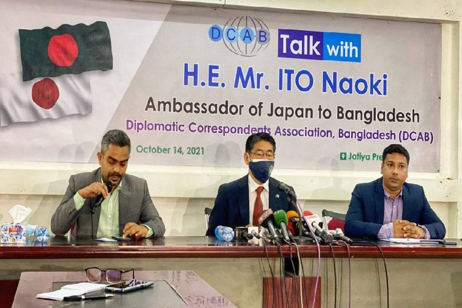 Japanese Ambassador Ito Naoki at a programme titled 'The DCAB Talks' held in the city on Thursday